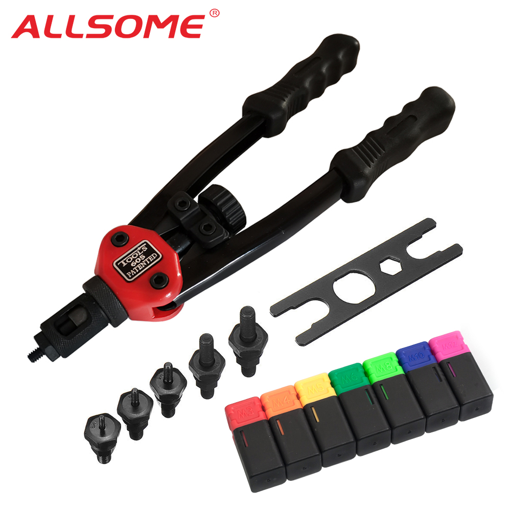ALLSOME BT-605 Riveter Gun Tool Hand Insert Rivet Nut Tool Manual Mandrels 6-32 8-32 10-24 1/4-20 HT2597