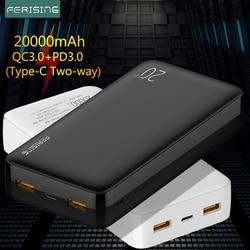 FERISING Power Bank 20000mAh Portable External Battery Charger QC PD 3.0 Poverbank for Xiaomi 20000 mah Fast Charging PowerBank