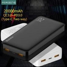 Chargeur externe portatif de batterie de la banque 20000 mAh de puissance de fermentation QC PD 3.0 batterie pauvre pour Xiaomi 20000 mah chargeur rapide de PowerBank