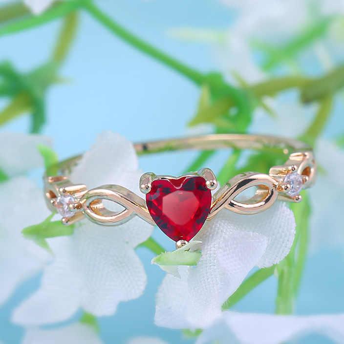 Huitanง่ายแหวนหัวใจผู้หญิงหญิงน่ารักแหวนโรแมนติกของขวัญวันเกิดสำหรับแฟนแฟชั่นZirconเครื่องประดับหิน