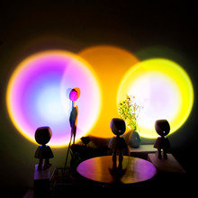 Wall Decor LED Robot Projector Atmosphere Light Touch Control Adjustable Sunset Rainbow Sun Background Projection Lamp