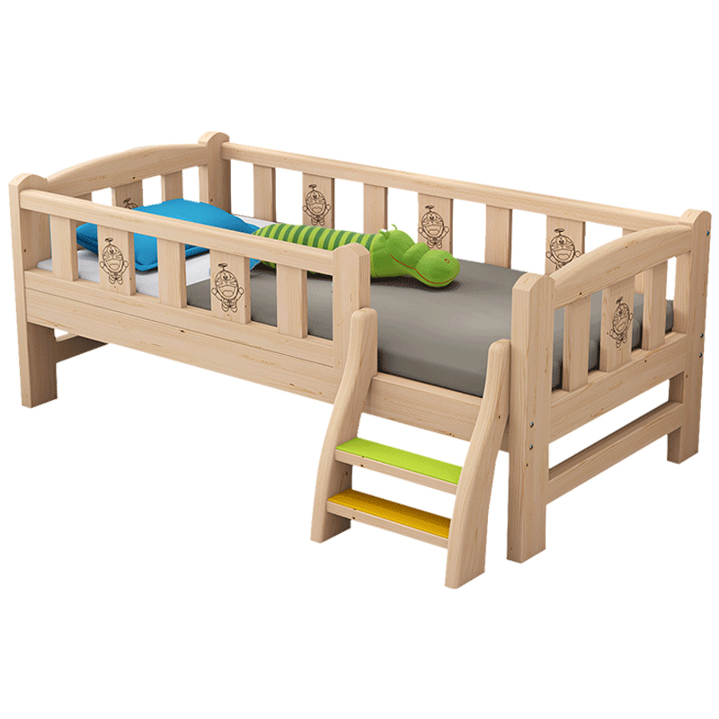 Solid Wooden Children's Bed With Guardrail, Baby, Boy, Girl, Princess, Bedside Sheet Bed Widening And Splicing Large Bed