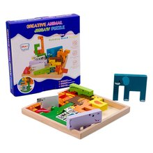 3d головоломки животных куб Деревянные игрушки для малышей деревянные