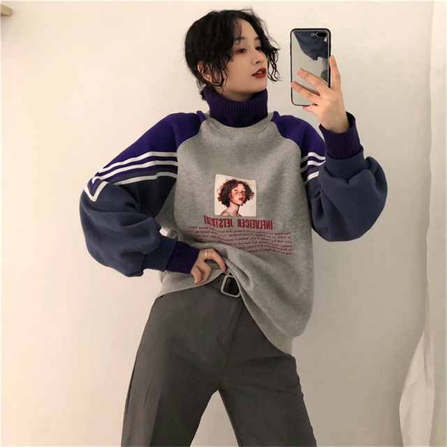2020 Hoodie Sweatshirt Women Winter Oversize Tops Fashion Pattern Printed Sweatshirt Autumn Turtleneck Outerwear Warm Pullover 5