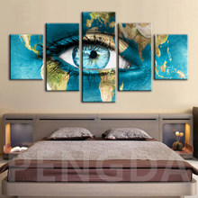 Classic Canvas Painting Prints Home Decoration Background 5 Set Watercolor Eyes Wall Art Modular Hang Pictures Hot Sale Poster(China)