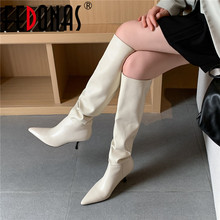 Party-Shoes Pumps High-Boots Pointed-Toe Knee Female Woman FEDONAS Top-Quality Concise