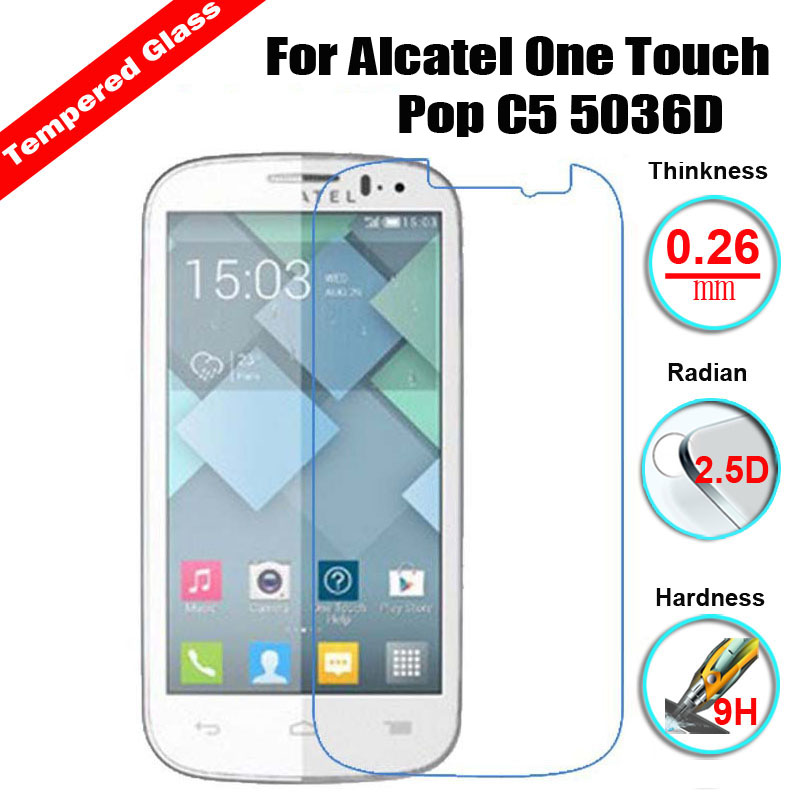 Galleria fotografica 2.5D 9H Premium Explosion proof Screen protector For Alcatel C5 C9 Elevate / Pixi3 4.5