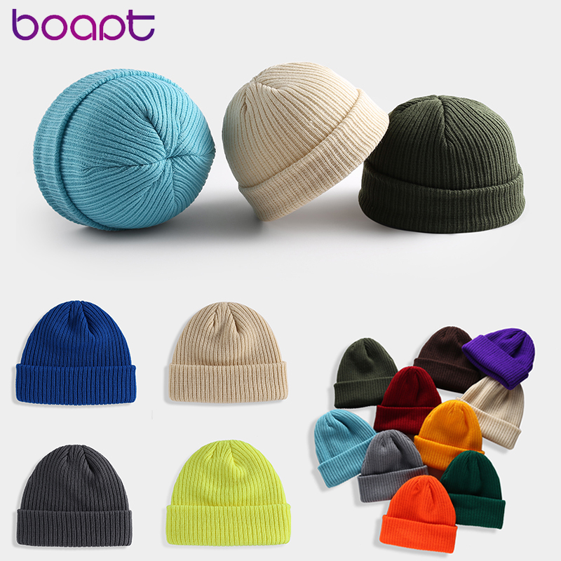 Unisex Skullcap Warmer Beanies Winter Hat For Women Men Knitted Hats Acrylic Solid Color Skullies Beanie Female Casual Skull Cap
