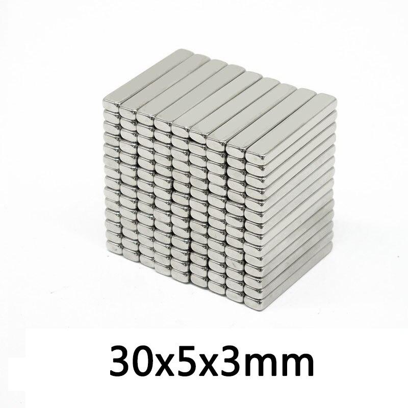 30/50/100 шт., тонкие неодимовые магниты, 30 х5х3 мм