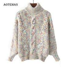 Женский Теплый свитер с высоким воротником повседневный толстый
