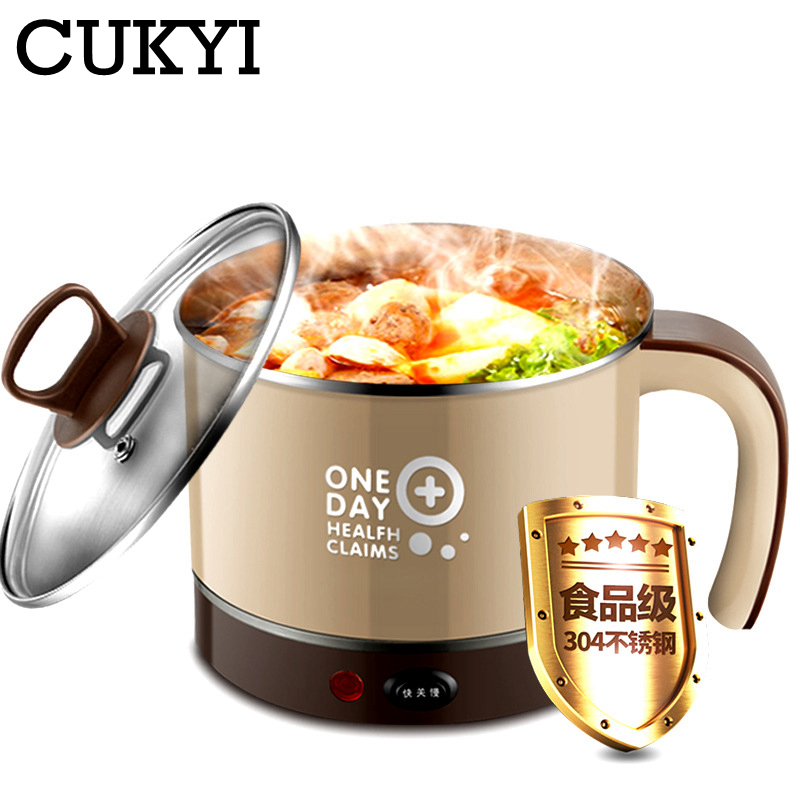 CUKYI Household Electric Nonstick Skillet Student Dormitory Mini Multifunction Pot Cooker Electric Cup 1.5L Electric Hot Pot