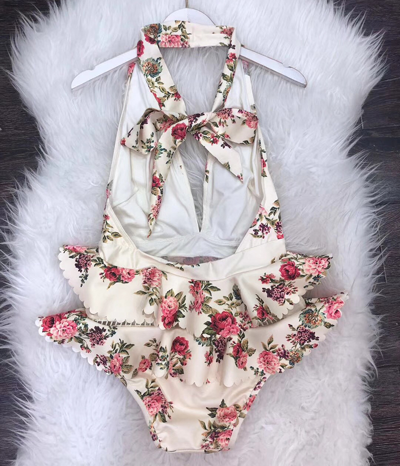 Сексуальный глубокий v образный вырез купальник женский с открытой спиной с цветочным принтом цельный купальник женский купальный костюм - 4