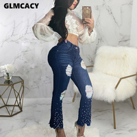 Women Pearl Studded Jeans Denim Flare Pants Skinny Stretch Ripped Beading Jeans Chic Bottoms Streetwear