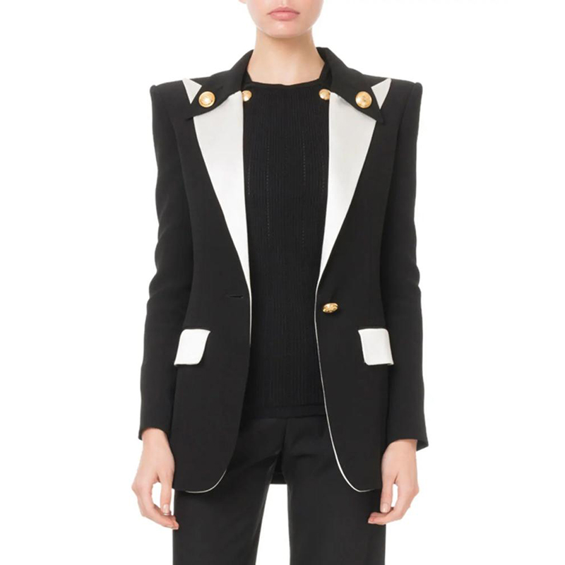 HIGH QUALITY Newest 2019 Designer Blazer Women's Lion Buttons Single Button Color Block Blazer Jacket