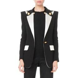 HIGH QUALITY Newest 2019 Designer Blazer Women's Lion Buttons Single Button Color Block Blazer Jacket