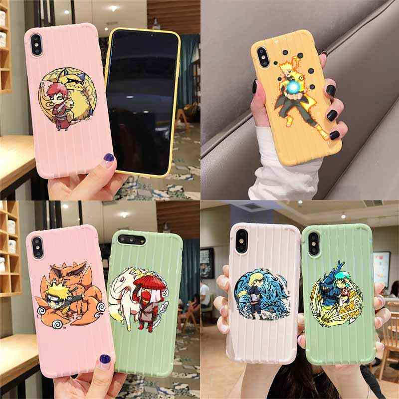 Cartoon Naruto Trolley Koffer Textuur Telefoon Case Iphone 11 Pro Max X Xs Max 8 7 6S Plus Leuke candy Kleur Behuizing