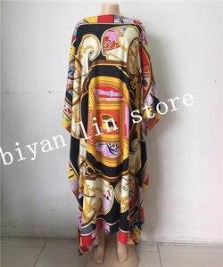 Image 4 - Długość sukni: 130cm biust: 130cm 2018 nowe modne sukienki Bazin nadrukiem Dashiki kobiety długa sukienka/suknia Yomadou kolorowy wzór oversize