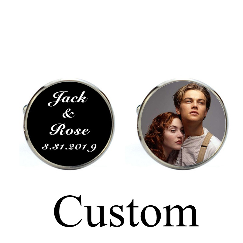 1 Pairs Custom Name Date Personalized Cufflinks Wedding Jewelry Quality Customize Photo Word Text Men Glass Dome Gift