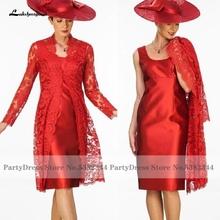 Lakshmitown Vestido Plus rozmiar sukienki dla matki panny młodej 2020 Abiti da Cocktail Women Party Dress z kurtka z koronką tanie tanio lakshmigown Kolan Płaszcza Pełna CN (pochodzenie) Frezowanie 4001013623123 Matka panny młodej suknie Z płaszczem Satyna