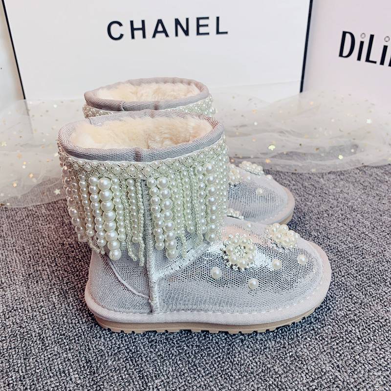 Kids Girls Sequin Glitter Ankle Boots Winter Warm Snow Shoes Party Flat Booties