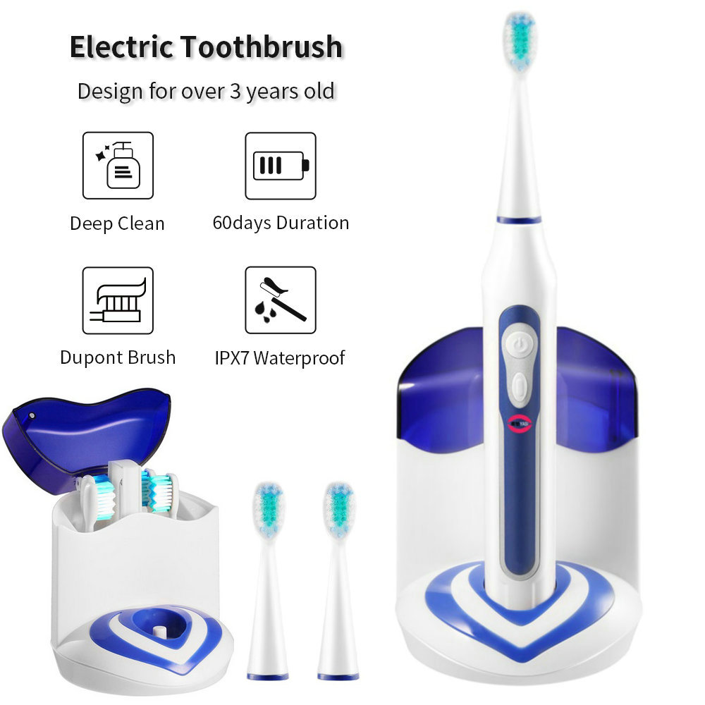 Electric Toothbrush Rechargeable buy one get one free Sonic Toothbrush 5 Mode Travel Toothbrush with 3 Brush Head Gift image