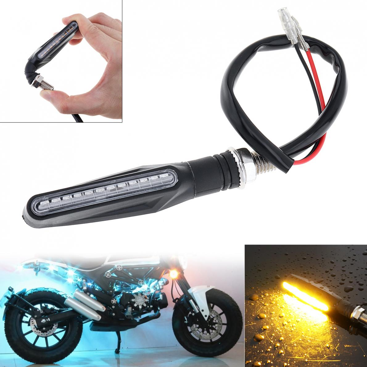 Universal Flowing Waterproof Motorcycle Motorbike LED Turn Signal Light Indicator Amber Lamp