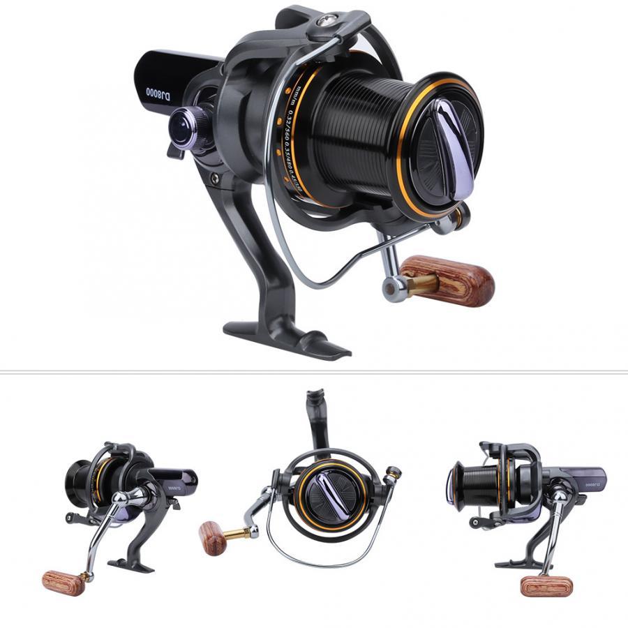 Moulinet de pêche filature haute capacité 15 roulement numéro roue de pêche interchangé culbuteur en bois t-forme poignée moulinet de pêche