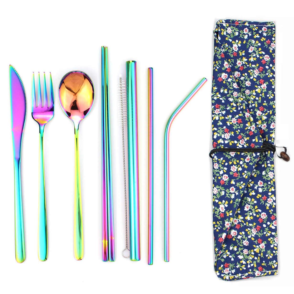 8Pcs Rainbow ชุดอาหารเย็น 304 ช้อนส้อมสแตนเลสสีดำชุดอาหารค่ำมีดช้อนส้อมฟางกระเป๋ากระเป๋าเดินทางบนโต๊ะอาหารชุด