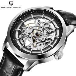 PAGANI projekt marka gorąca sprzedaż 2019 szkielet Hollow skórzane męskie zegarki luksusowe mechaniczny dla mężczyzn zegar nowy Relogio Masculino w Zegarki mechaniczne od Zegarki na