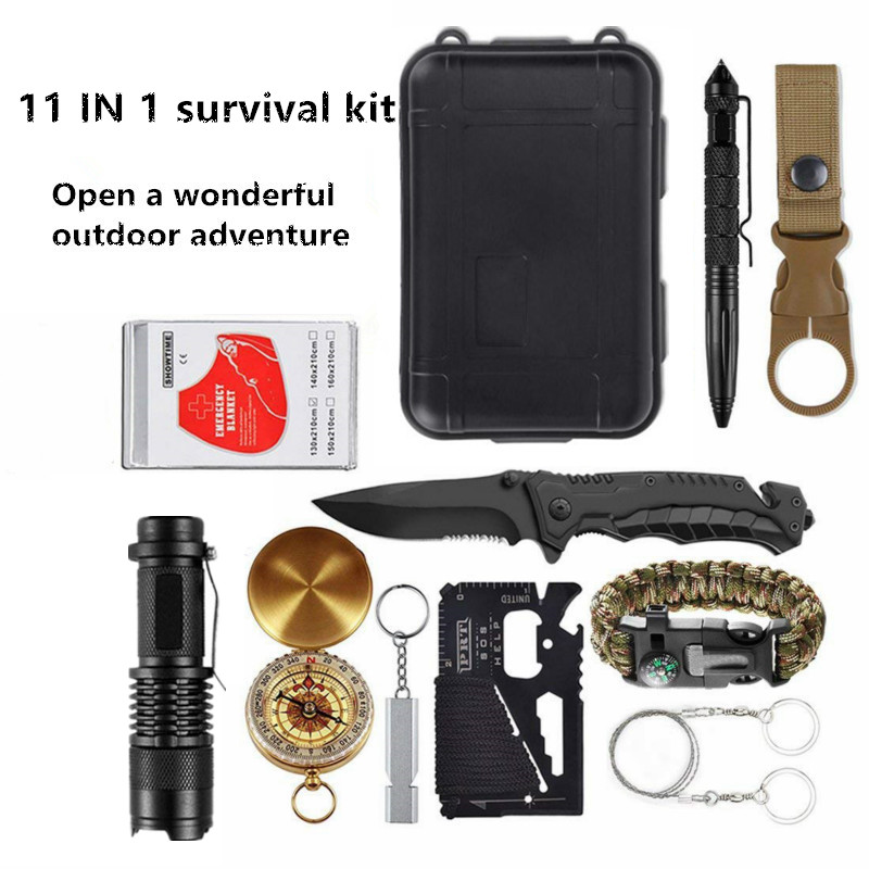 Outdoor Emergency Survival Kit Survival Gear First Aid Kits Flashlights, Compass, Multi-tool for Camping Hiking Biking Hunting