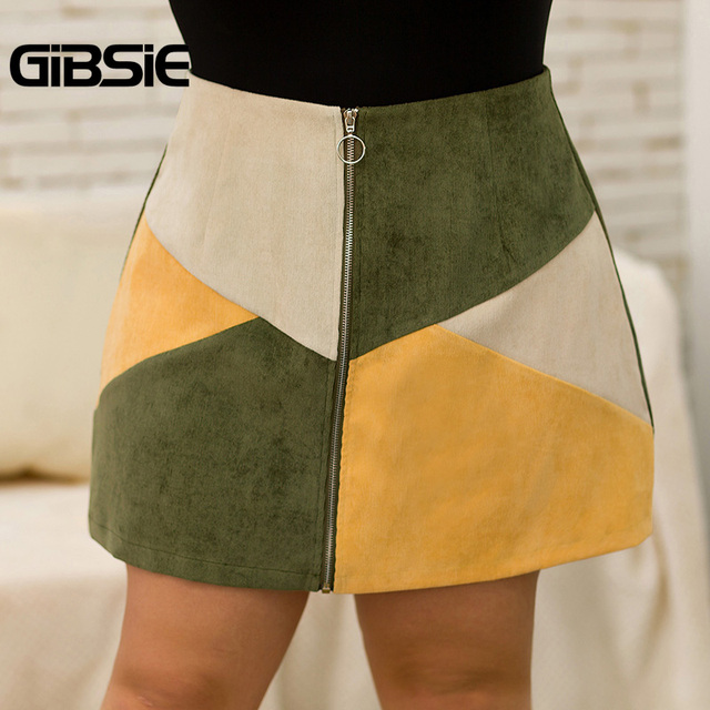GIBSIE Autumn winter Fashion Color Block Women Skirt Plus Size O-ring Zipper High Waist Skirts Female Casual Office A-line Skirt 3
