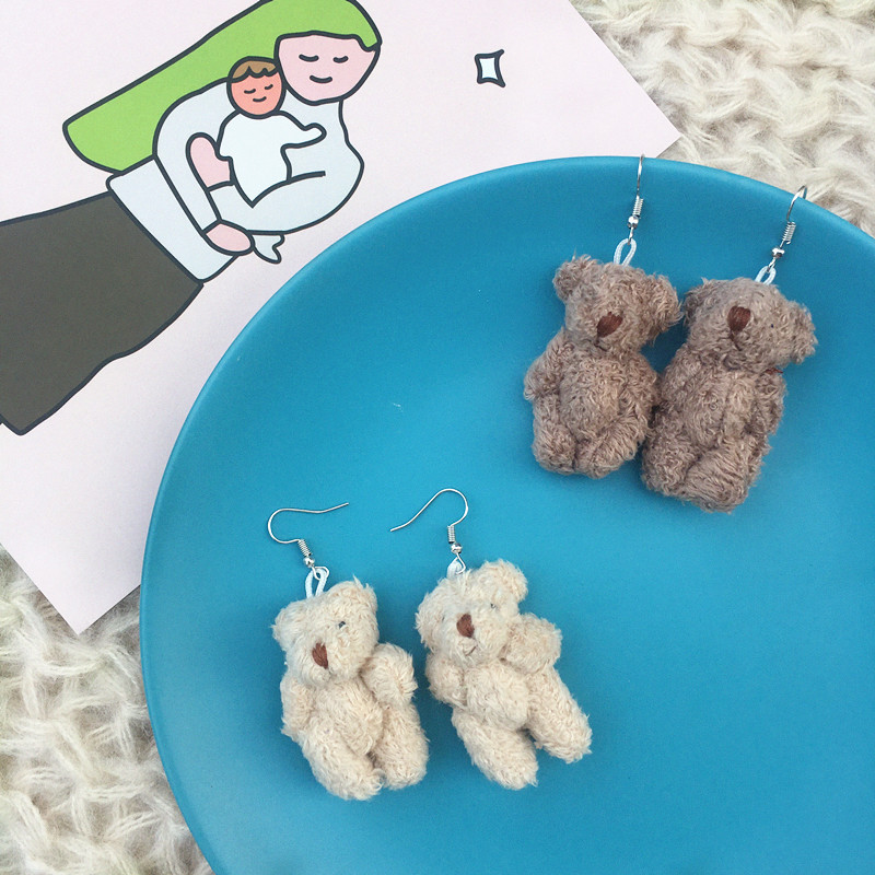 Новинка корейские креативные милые серьги ручной работы с плюшевым медведем осенне-зимние серьги-подвески в виде медведя для женщин модные...