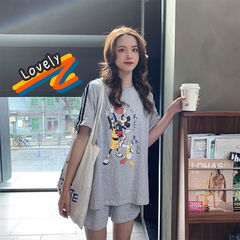 Two-Piece Set Mickey Mouse Tops T-shirt Short Sleeve Shorts 2020 Summer Harajuku Wind GIRL'S Students College Wave
