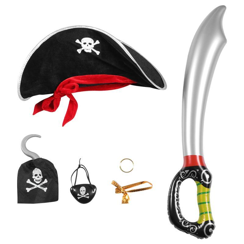 5 uds. De disfraz de pirata para Halloween, accesorios, juego de sombrero, gancho, pendiente de espada y parche de ojo
