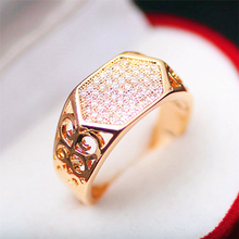 Rose Gold Color Woman Ring Temperament Female Wild Fashion Inlaid White Zircon Jewelry