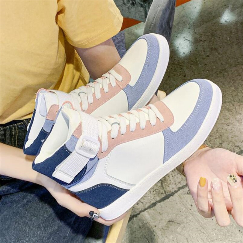 Mhysa 2019 Autumn Women Fashion Sneakers High Top Hook Loop Lace Up Platform Casual Shoes flat Heel Women's vulcanized shoes 32