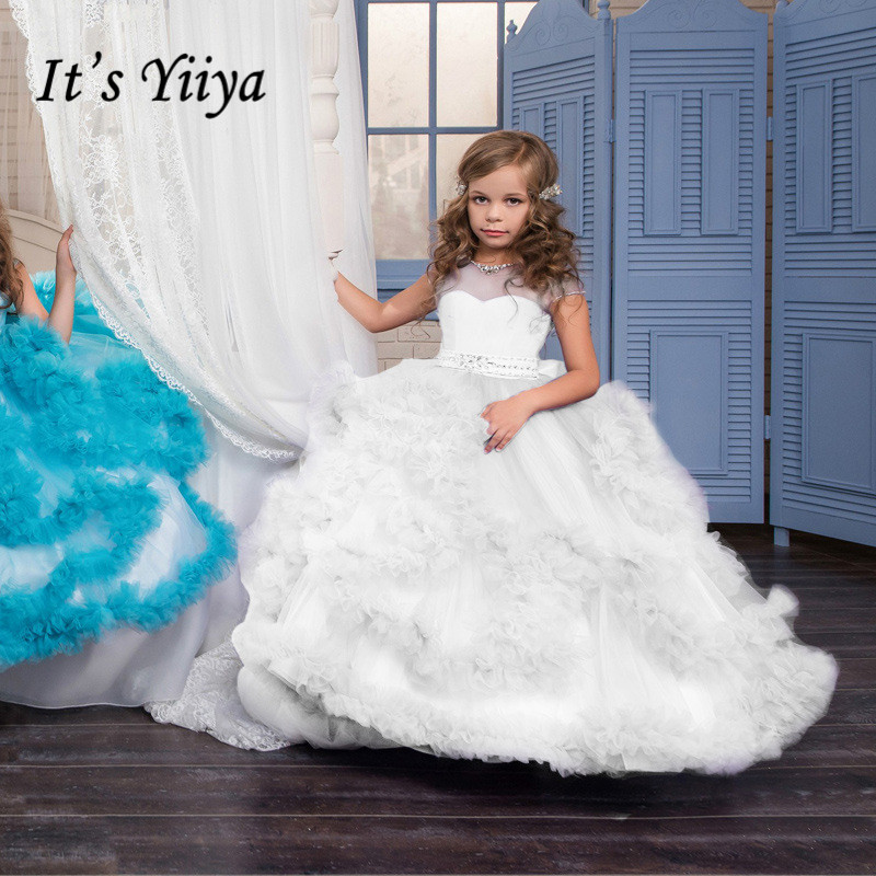 Ball Gown Kid Dress It's Yiiya B002 Ruffles Floor-Length O-Neck Flower Girl Dresses For Weddings Crystal Kids Dresses For Girls
