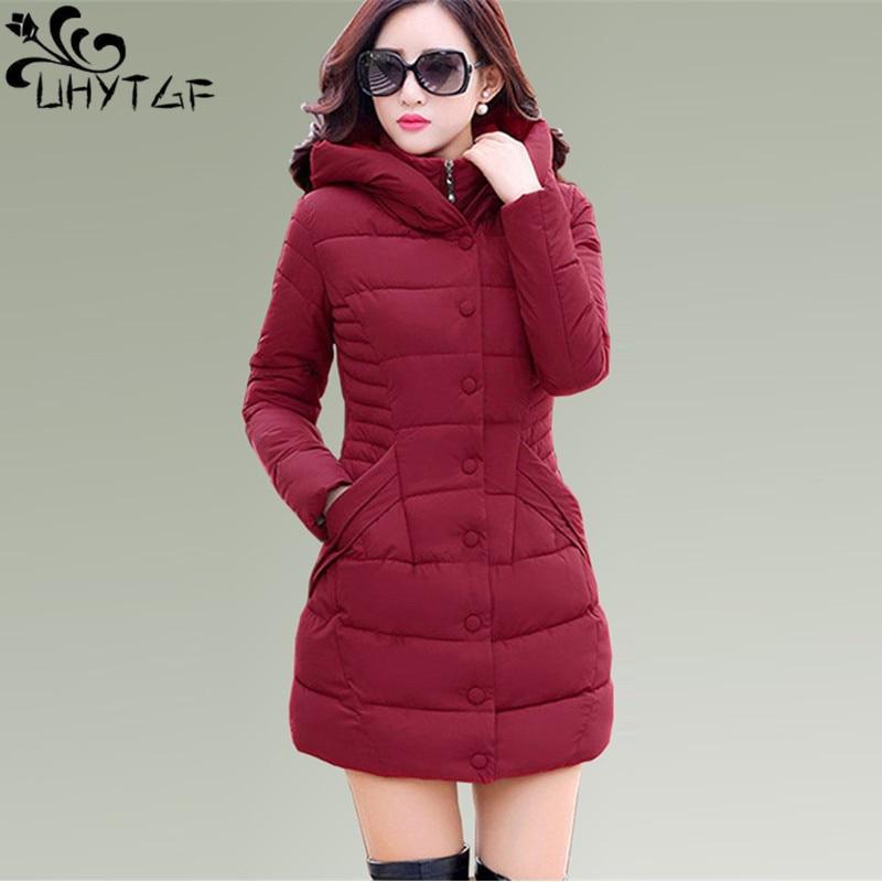 UHYTGF Winter Women Down Jacket Down cotton Women Hooded Fashion Plus size Thick Warm Down Cotton-padded Female   Parka   Coats X441