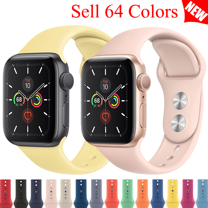 Sport Silicone Strap For Apple Watch Band 4 44mm 40mm Iwatch Band 42mm 38mm Bracelet Belt Apple Watch Series 5 4 3 2 Accessories