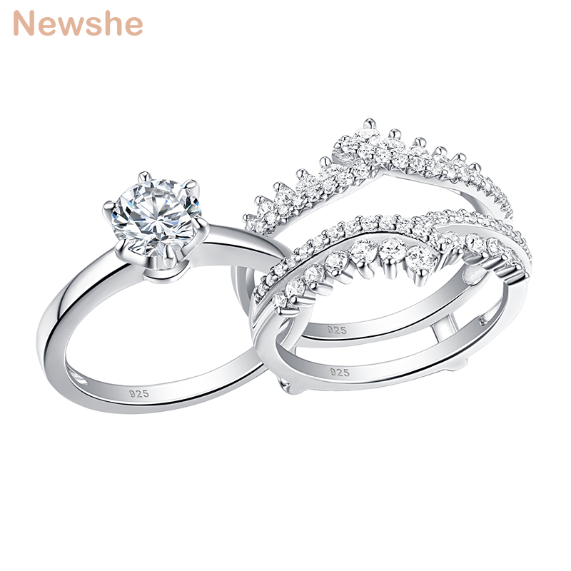 Newshe 2 Pcs 925 Sterling Silver Wedding Rings Set For Women Solitaire Engagement Ring Detachable Guard Band AAAAA Zircon BR0910