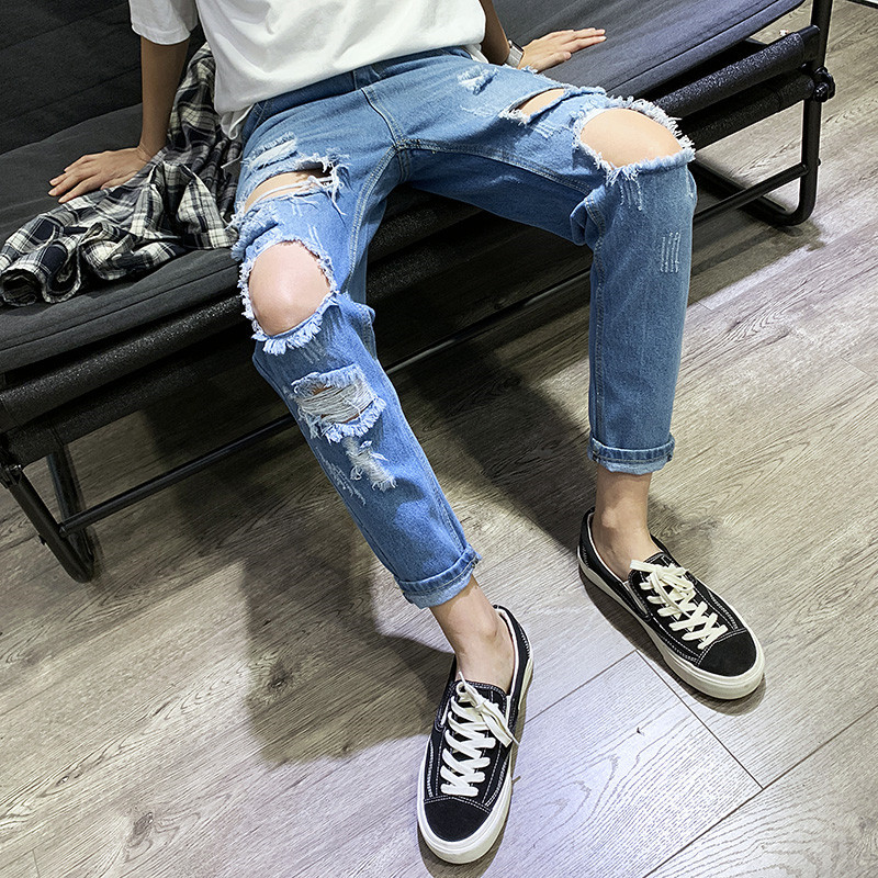 Spring Summer BOY'S With Holes Jeans Korean-style Slim Fit Slimming Elasticity Capri Pants Hong Kong Style Beggar Casual Pants M