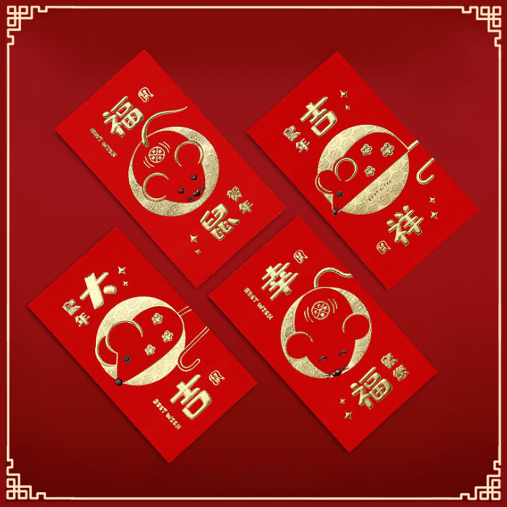 32 Pcs 2020 Chinese New Year Red Money Envelope Year of the Rat Packet Bag Children New Year Red Pocket for Student Kids Gift