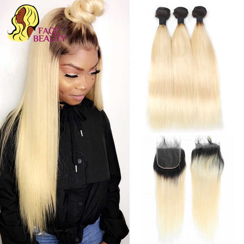 Facebeauty 1B/613 Honing Blonde Braziliaanse Straight Remy Human Hair 3 Bundels Met Vetersluiting, blonde Ombre Bundels Met Sluiting