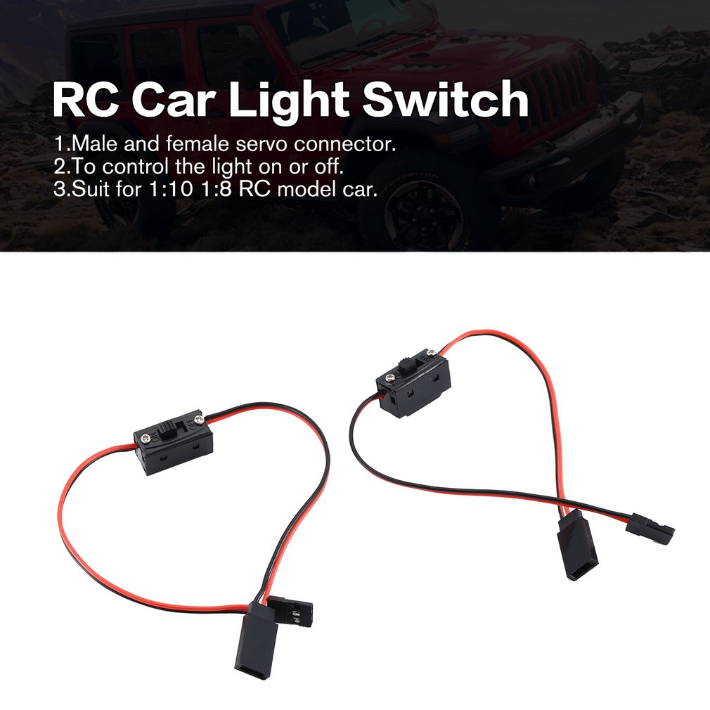 2pcs LED Light Control Power Switch for Traxxas HSP Redcat RC4WD Tamiya Axial SCX10 D90 HPI RC Model Car