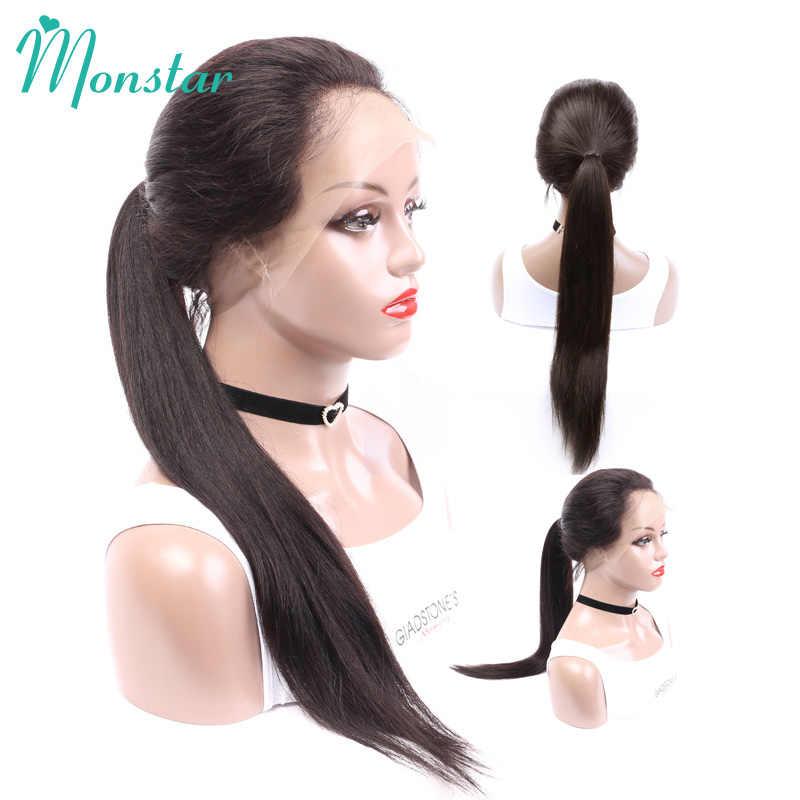 Monstar 13x4 pelucas de cabello humano sin pegamento brasileño de Color Natural Remy de 8-26 pulgadas con frente recto
