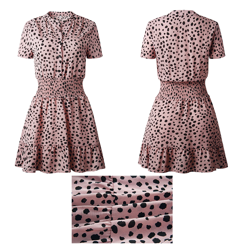 Leopard Ruffle Buttons Waisted Fitted Mini Dress 4