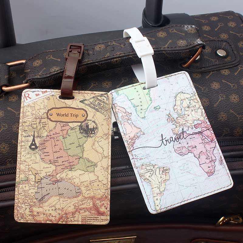Mapa del mundo creativo, accesorios de viaje de alta calidad, etiqueta de equipaje, Maleta de PU, soporte de identificación, etiqueta de embarque de equipaje, etiqueta portátil