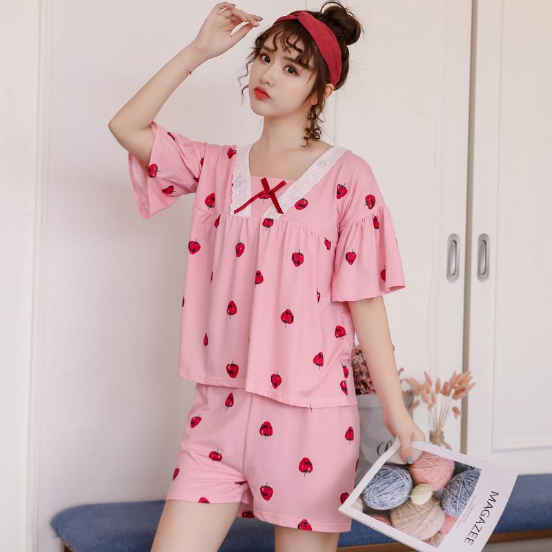 2020 Summer Casual Pajama Sets For Women Short Sleeve&Pants Cotton Pyjamas For Girls Comfortable Good Quality Sleepwear