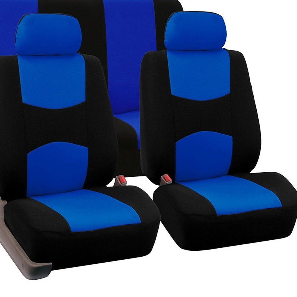 Blue Polyester Car Front/Rear Seat Cushion Suitable For Most Car Seats Universal Four Seasons Backrest Headrest Cover