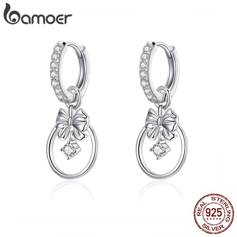Bamoer Silver 925 Jewelry Clear CZ Bowknot Dangle Drop Earrings For Women Wedding Statement Jewelry 2020 New Brincos BSE332